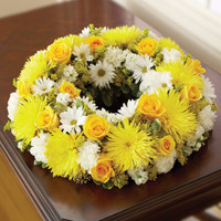 Yellow & White Cremation Wreath