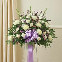 Lavender & White Sympathy Standing Half Spray