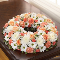 Peach, Orange & White Cremation Wreath