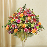 Large Sympathy  Arrangement in Basket-Multicolor Pastel Mixed Flowers