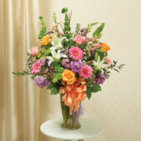 Multicolor Pastel Large Sympathy Vase Arrangement