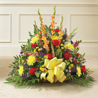 Mulricolor Bright Mixed Flower Fireside Basket
