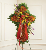 Mixed Flower Standing Cross in Fall Colors
