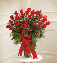 Large Vase Arrangement In Christmas Colors
