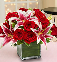 Red Rose and Lily Cube Bouquet