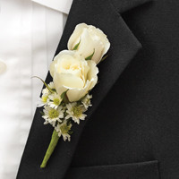 All White Ring Bearer Boutonniere