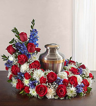 Upright Red, White & Blue Cremation Wreath