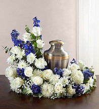 Upright Blue & White Cremation Wreath