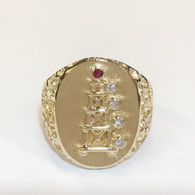 OIL DERRICK RING WITH DIAMOND AND RUBY LIGHTS  (*SPECIAL ORDER)