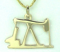 14KY GOLD OIL PUMP JACK PENDANT  lrg