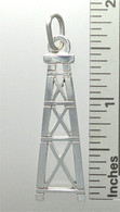 OIL WELL DERRICK PENDANT IN STERLING SILVER (lrg)