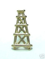 OIL WELL DERRICK TIE-TAC 14K YELLOW GOLD