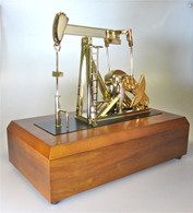Our ANIMATED DESKTOP OIL FIELD PUMP JACK in GOLD finish