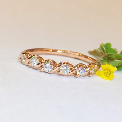 """The SARAH II Diamond Band details include """"S"""" Shape Design in 14K Rose Gold and .25carats Total Weight Round Brilliant Diamonds"""