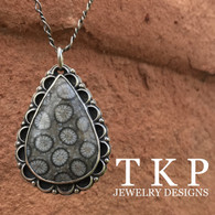 PETRIFIED FOSSILIZED CORAL PENDANT with beautifully hand-crafted details by TKP jewelry Craftsman Jay Phinney