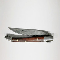 """LUXURY KNIFE QGKN72333 features: 6.5"""" Long (open), Damascus Blade (over 250 layers), Rockwell hardness of 56-60 H.R.C., Thumbnail Assist Open, Walnut Wood Handles, Steel Bolsters"""