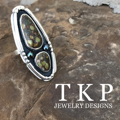 TREASURE MOUNTAIN TURQUOISE with CULTURED BLACK AKOYA PEARLS