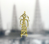 14K YELLOW GOLD OIL DERRICK PENDANT WITH WHITE DIAMOND GUSHER