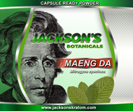"2oz of Jackson's Maeng Da Capsule Ready Powder.  The powder of choice for those who make their own kratom capsules at home.  This powder compacts nicely for making capsules but, if you are looking for a finer powder please check out our ""Ultra Fine Powders."""