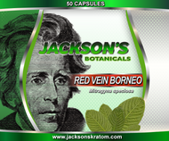50 Capsules of our freshest Red Vein Borneo Kratom.  Each capsule contains approximately 600mg.