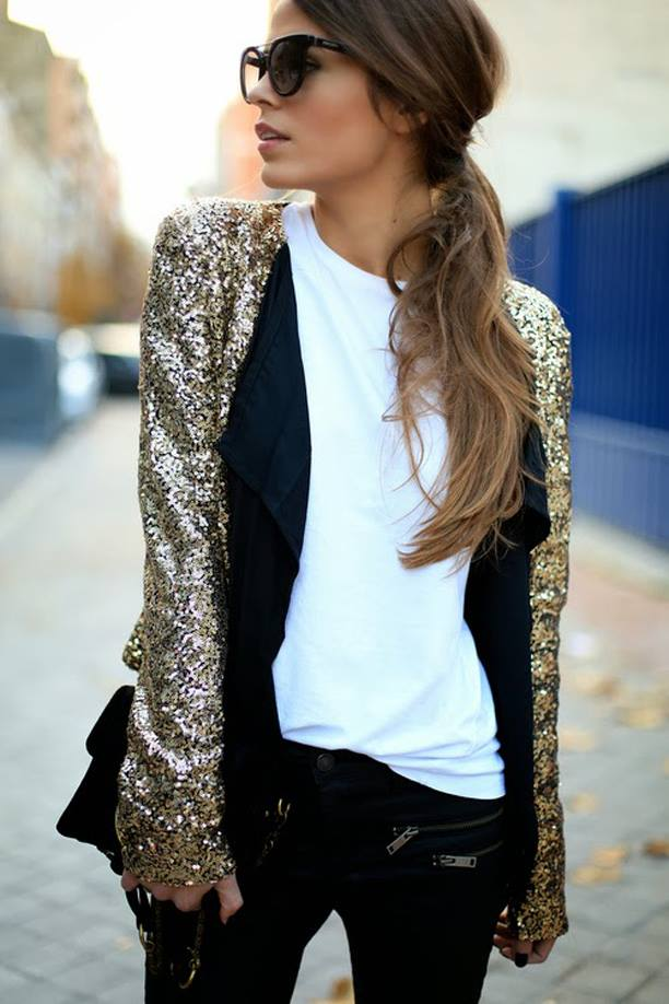 Organic Cotton White T + Gold Sequin Dinner Date