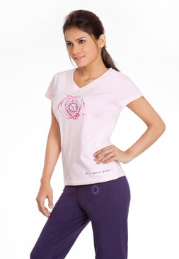 Organic Cotton Ladies Yoga Top, OM Top front