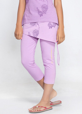 Organic Cotton Dhanurasana Pants, purple front, model
