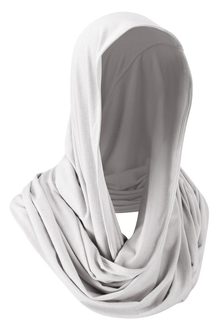 Silver Mist Snood as Hood