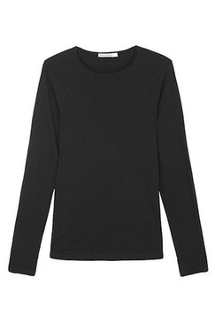 Long Sleeve Organic Cotton Angle Top - Black