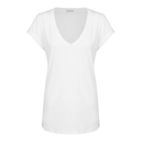 Roll V-Neck Tee White in 100% Organic Cotton