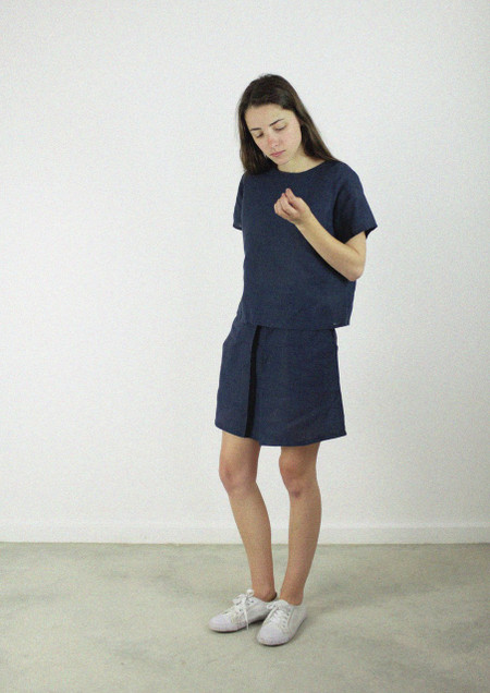 Shell Top, Hemp Linen in Indigo