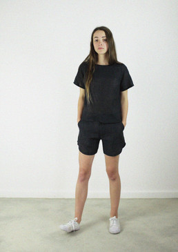 Shell Top, Hemp Linen in Black