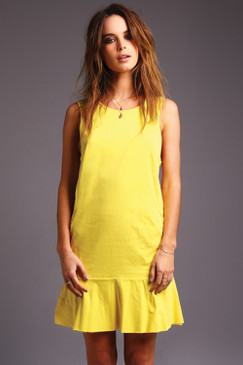Yellow Drop Waist Dress