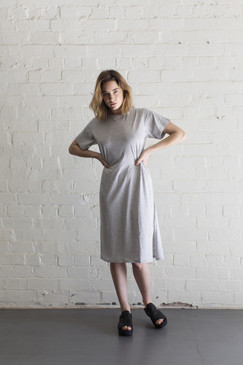 Tee Dress Mid Calf Length - Marle Grey  | Organic Cotton