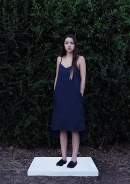 Indigo Blue Midi Slip Dress Hemp