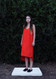 Slip Dress Midi Bell Pepper Red. Not Cut in Front as Shown. Straight Hem
