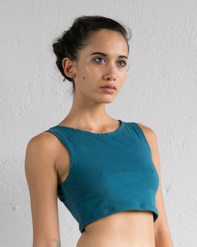 Teal Cropped Yoga Top