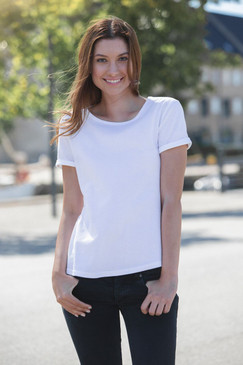 Ladies Roll up T-Shirt | Organic Cotton & Fairtrade | White