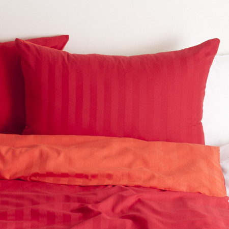 organic cotton satin, pillow case red
