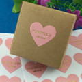 48 'Handmade with Love' Heart Stickers - 30 x 32mm