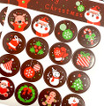 48 Christmas Selection Round Stickers - 30mm Diameter