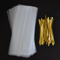 """40 3""""x1.75""""x7"""" Clear Cello Bags & 40 Twist Ties - Sweet Wrapping Kit"""