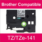 Compatible Brother TZ/TZe-141 Laminated 18mm Black on Clear tape cassette (2 Cassettes)