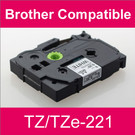 Compatible Brother TZ/TZe-221 Laminated 9mm Black on White tape cassette (2 Cassettes)