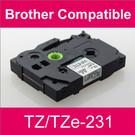 Compatible Brother TZ/TZe-231 Laminated 12mm Black on White tape cassette (2 Cassettes)