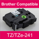Compatible Brother TZ/TZe-241 Laminated 18mm Black on White tape cassette (2 Cassettes)