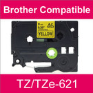 Compatible Brother TZ/TZe-621 Laminated 9mm Black on Yellow tape cassette (8 Cassettes)