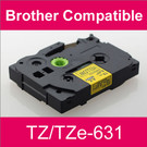 Compatible Brother TZ/TZe-631 Laminated 12mm Black on Yellow tape cassette (2 Cassettes)
