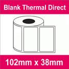 102mm x 38mm Premium Blank Thermal Direct Label (4 rolls)