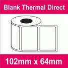 102mm x 64mm Premium Blank Thermal Direct Label (16 rolls)